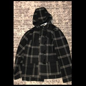 Warm and heavy button up plaid coat with hood